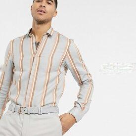 グレー 大胆 オレンジ色 ストライプ ヴィゴ シャツ 長袖 インポート 大きいサイズ 20代 30代 40代
