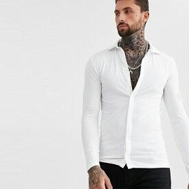 ASOS DESIGN オーガニック マッスル フィット ジャージー シャツ ホワイト 長袖 インポート 大きいサイズ 20代 30代 40代