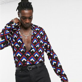 ASOS DESIGN レトロ 幾何学模様 レギュラー フィット シャツ 20代 30代 40代 ファッション コーディネート オシャレ カジュアル