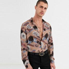 ASOS DESIGN レギュラーフィット シャツ フローラル ジオメトリック プリント 20代 30代 40代 ファッション コーディネート オシャレ カジュアル