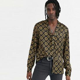 ASOS DESIGN レギュラーフィット ジオシャツ プッシー ボウタイ付き 20代 30代 40代 ファッション コーディネート オシャレ カジュアル