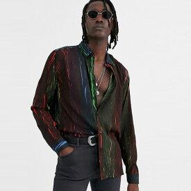 ASOS DESIGN クリンクル エフェクト レインボー プリント レギュラー フィット シャツ 20代 30代 40代 ファッション コーディネート オシャレ カジュアル