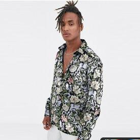 ASOS DESIGN レギュラー ベルベット プリント シャツ 20代 30代 40代 ファッション コーディネート オシャレ カジュアル