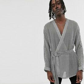 ASOS DESIGN レギュラー フィット ラップ ギンガム チェック シャツ 20代 30代 40代 ファッション コーディネート オシャレ カジュアル
