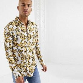 SikSilk 長袖 リゾート シャツ メンズ 20代 30代 40代 ファッション コーディネート小さいサイズから大きいサイズまで