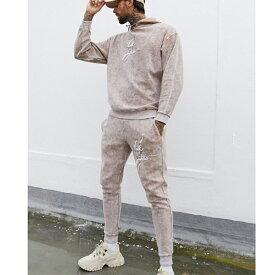 ASOS DESIGN coord オーバーサイズ パーカー ウォッシュ リバース フリース ダーク フューチャー ロゴ 20代 30代 40代 ファッション コーディネート小さいサイズから大きいサイズまで