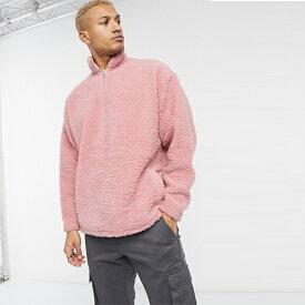 ASOS DESIGN 特大 ハーフジップ トラック ネック スウェットシャツ(ピンクボルグ) 20代 30代 40代 ファッション コーディネート小さいサイズから大きいサイズまで