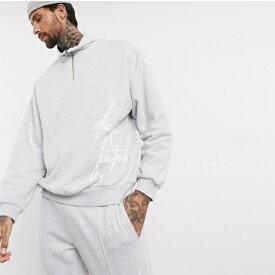 ハーフジップ ダークフューチャー ロゴ ASOS DESIGN co-ord スウェットシャツ 20代 30代 40代 ファッション コーディネート小さいサイズから大きいサイズまで
