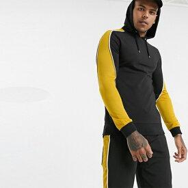 ASOS DESIGN COORD マッスル フィット パーカー(モトクロス カラーブロック機能付き 黒 黄色) 20代 30代 40代 ファッション コーディネート小さいサイズから大きいサイズまで