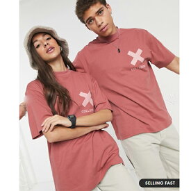 COLLUSION ピンク ユニセックス ロゴ Tシャツ メンズ トップス 20代 30代 40代 ファッション コーディネート オシャレ カジュアル