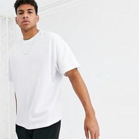 ASOS DESIGN クルーネック付き ホワイト オーバーサイズ Tシャツ メンズ トップス 20代 30代 40代 ファッション コーディネート オシャレ カジュアル