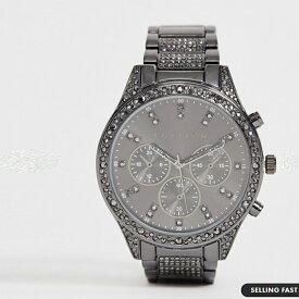 クリスタル ディテール ガンメタル製 ASOS EDITION ブレスレット ウォッチ 時計 大人カジュアル 30代 40代 20代 インポートブランド メンズ
