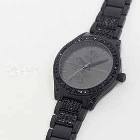 ブラック クリスタル ディテール ASOS DESIGN ブレスレット ウォッチ 時計 大人カジュアル 30代 40代 20代 インポートブランド メンズ