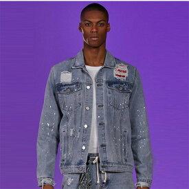boohoo(ブーフー)バンダナ スプラッタ デニム ジャケット ペイント 長袖 大きいサイズあり 流行 最新 メンズカジュアル ファッション アウター