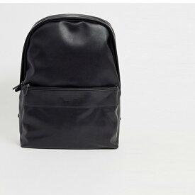 ロゴ エンボス加工 黒 フェイクレザー サフィアーノ製 ASOS DESIGN バックパック 20代 30代 40代 ファッション コーディネート インポートブランド