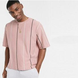 ピンク トップマン ボックス ストライプ tシャツ 20代 30代 40代 ファッション コーディネート オシャレ カジュアル
