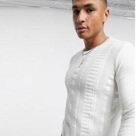 New Look 白 マッスル コットン ケーブル ジャンパー インポート ブランド メンズ 20代 30代 40代 ファッション コーディネート