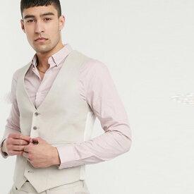 ASOS DESIGN ストーン ストレッチ コットン リネン ウェディング スキニー スーツ ウエスト コート インポート ブランド メンズ 20代 30代 40代 ファッション コーディネート