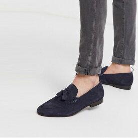 H by ハドソン ボルトン タッセル ローファー ネイビー スエード 靴 インポート ブランド メンズ 20代 30代 40代 ファッション コーディネート