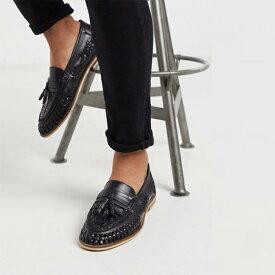 Moss London ウーブン ローファー ブラック 靴 20代 30代 40代 ファッション コーディネート 小さいサイズから大きいサイズまで オシャレ トレンド インポート トレンド