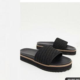 ASOS DESIGN スライダー レザー製 織り ストラップ 厚底 ソール 靴 20代 30代 40代 ファッション コーディネート 小さいサイズから大きいサイズまで オシャレ トレンド インポート トレンド