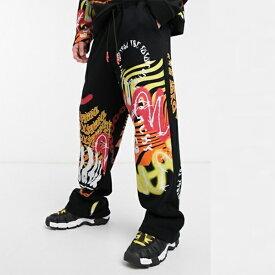 Jaded London ジェイドロンドン グラフィティ プリント ワイドレッグ ジョガー 20代 30代 40代 ファッション コーディネート オシャレ カジュアル メンズ