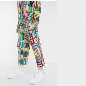 ASOS MADE IN KENYA グリッド プリント ズボン ストレートプル 印刷 20代 30代 40代 ファッション コーディネート小さいサイズから大きいサイズまで オシャレ トレンド インポート トレンド