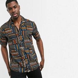 Only&Sons 半袖 リバーカラー アステカ シャツ(ブラック) トップス メンズ 20代 30代 40代 ファッション コーディネート小さいサイズから大きいサイズまで オシャレ トレンド インポート トレンド