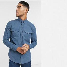 New Look ブルー 長袖 ダブル ポケット ツイル シャツ トップス メンズ 20代 30代 40代 ファッション コーディネート小さいサイズから大きいサイズまで オシャレ トレンド インポート トレンド