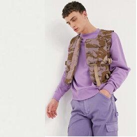 Milk It Vintage 迷彩 ユーティリティ ベスト パープル メンズ 20代 30代 40代 ファッション コーディネート小さいサイズから大きいサイズまで オシャレ トレンド インポート トレンド