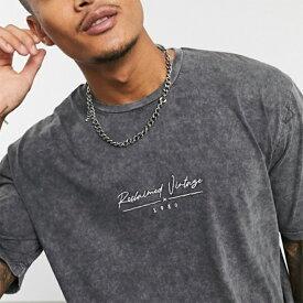 Reclaimed Vintage リサイクルグレー ロゴ 特大 ボックス Tシャツ メンズ 20代 30代 40代 ファッション コーディネート 小さいサイズから大きいサイズまで オシャレ トレンド インポート トレンド