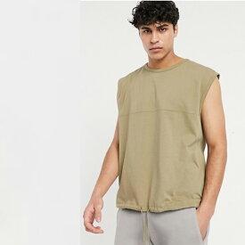 ASOS DESIGN ウォッシュドカーキ ネクタイヘム ヘビーウェイト オーバーサイズ ノースリーブ Tシャツ メンズ 20代 30代 40代 ファッション コーディネート 小さいサイズから大きいサイズまで オシャレ トレンド インポート トレンド