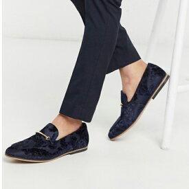 ASOS DESIGN ローファー ネイビー バーンアウト 花柄 スナッフル付き 靴 20代 30代 40代 ファッション コーディネート 小さいサイズから大きいサイズまで オシャレ トレンド インポート トレンド
