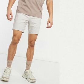 ASOS DESIGN スリム チノ ショーツ(ベージュ) 20代 30代 40代 ファッション コーディネート 小さいサイズから大きいサイズまで オシャレ トレンド インポート トレンド