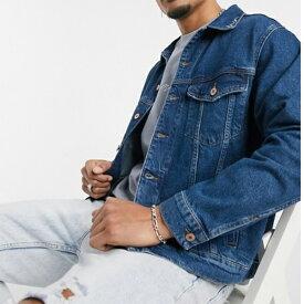 ブルー メナス シグネチャー ロゴ カラー デニムジャケット 20代 30代 40代 ファッション コーディネート 小さいサイズから大きいサイズまで オシャレ トレンド インポート トレンド