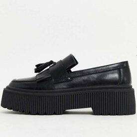 チャンキーソール タッセル付き ブラック フェイクレザー ASOS DESIGN ローファー 靴 20代 30代 40代 ファッション コーディネート 小さいサイズから大きいサイズまでオシャレ トレンド インポート トレンド