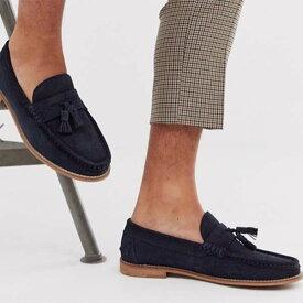 ASOS DESIGN タッセル ローファー ネイビー スエード 天然ソール 靴 20代 30代 40代 ファッション コーディネート 小さいサイズから大きいサイズまでオシャレ トレンド インポート トレンド