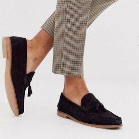 ASOS DESIGN タッセル ローファー ブラック スエード 天然ソール 靴 20代 30代 40代 ファッション コーディネート 小さいサイズから大きいサイズまでオシャレ トレンド インポート トレンド