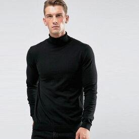 ASOS DESIGNコットンロールネックブラックトップス 20代 30代 40代 ファッション コーディネート 大きいサイズあり