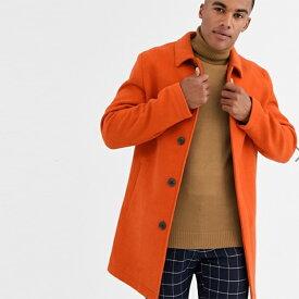 ASOS DESIGNウールミックストレンチコートオレンジ アウター コート インポート セレブファッション 大きいサイズ 高身長