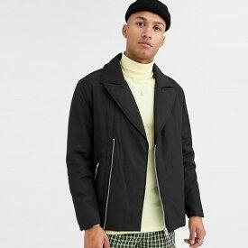 ASOS DESIGN黒のパッド入りバイカージャケット 大きいサイズ インポート トレンド 20代 30代 40代 カジュアル asos 小さいサイズあり