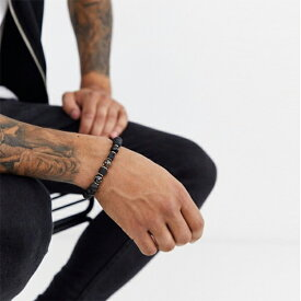 ASOS DESIGN 半貴石 ブレスレット(ブラック) アクセサリー メンズ  20代 30代 40代 インポート ブランド
