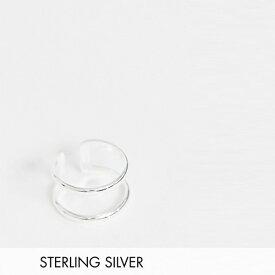 ASOS DESIGN スターリング シルバー ダブル バンド リング アクセサリー メンズ  20代 30代 40代 インポート ブランド