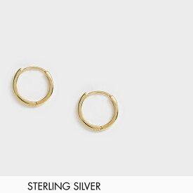 ASOS DESIGN スターリング シルバー チャンキー フープ ピアス(K14ゴールドプレート) アクセサリー メンズ  20代 30代 40代 インポート ブランド
