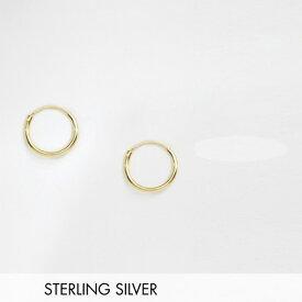 ASOS DESIGN スターリング シルバー 12mm フープピアス 14k ゴールド メッキ アクセサリー メンズ  20代 30代 40代 インポート ブランド
