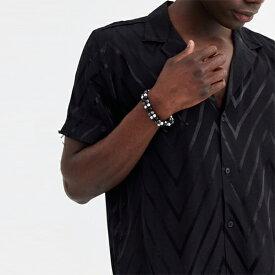 ASOS DESIGN ダブルレイヤー セミ プレシャス ビーズ ブレスレット アクセサリー メンズ  20代 30代 40代 インポート ブランド