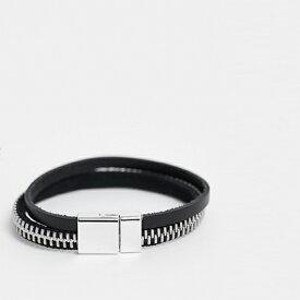 ASOS DESIGN レザー ジップブレスレット ブラック シルバー トーン アクセサリー メンズ  20代 30代 40代 インポート ブランド