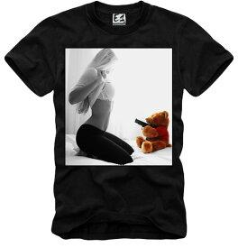 E1SYNDICATE(イーワンシンジケート)TEDDY テディー ベア クマのぬいぐるみ セクシーガール ブラック Tシャツ 20代 30代 ファッション コーディネート オシャレ トレンド T-シャツ 日本未入荷 インポート シンジケート フォトプリント フォトt 高身長