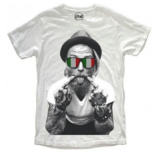 SPEND( スペンド)ITALIAN BEARD Tシャツ ホワイト ト 20代 30代 ファッション コーディネート 大きいサイズ 日本未入荷 インポートブランド 半袖 メンズ カジュアル ユニセックス divacloset