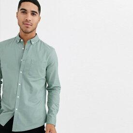 ASOS メンズ トップス 長袖 スリムフィットオックスフォードシャツ セージグリーン 20代 30代 40代 ファッション コーディネート小さいサイズから大きいサイズまで オシャレ トレンド Tシャツ インポート トレンド 京都のセレクトショップdivacloset